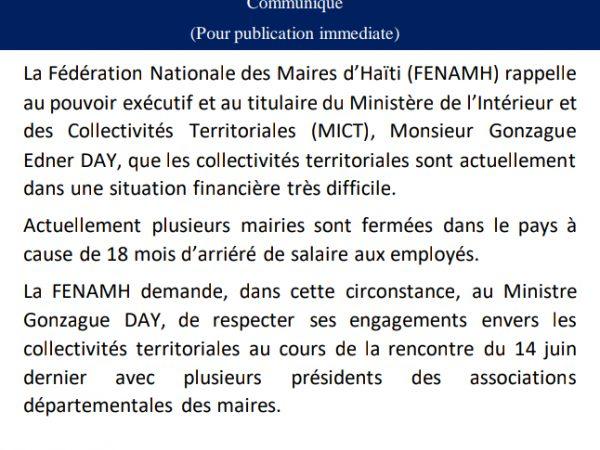 La FENAMH demande au Ministre Gonzague DAY de respecter ses engagements envers les collectivités territoriales.