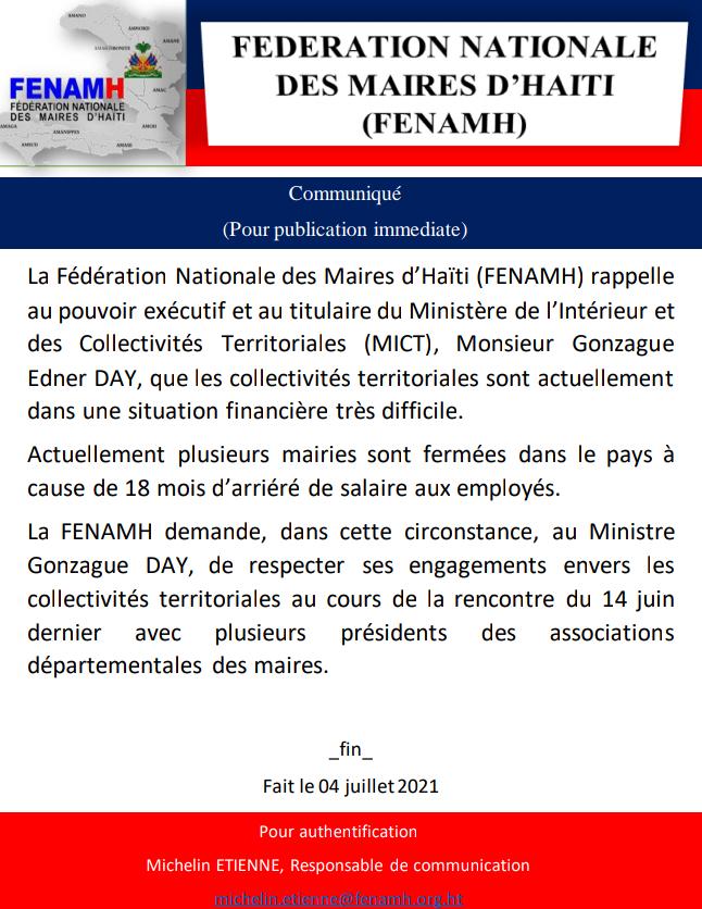 You are currently viewing La FENAMH demande au Ministre Gonzague DAY de respecter ses engagements envers les collectivités territoriales.